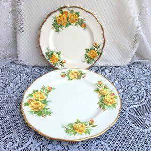 2 Pc Royal Albert Tea Rose Plates Dinner/Luncheon